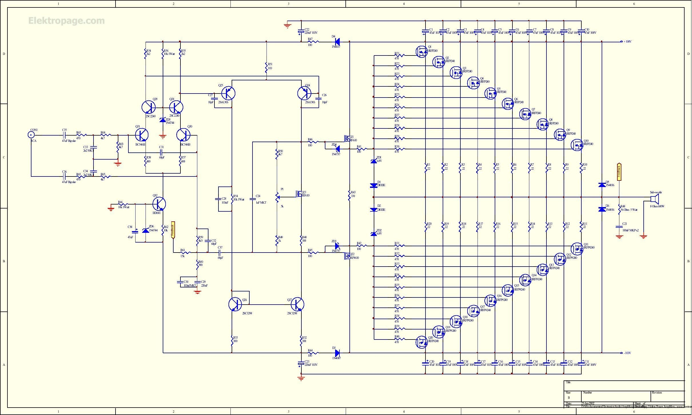 1Kw Rms Mosfet Amplifier Shematic