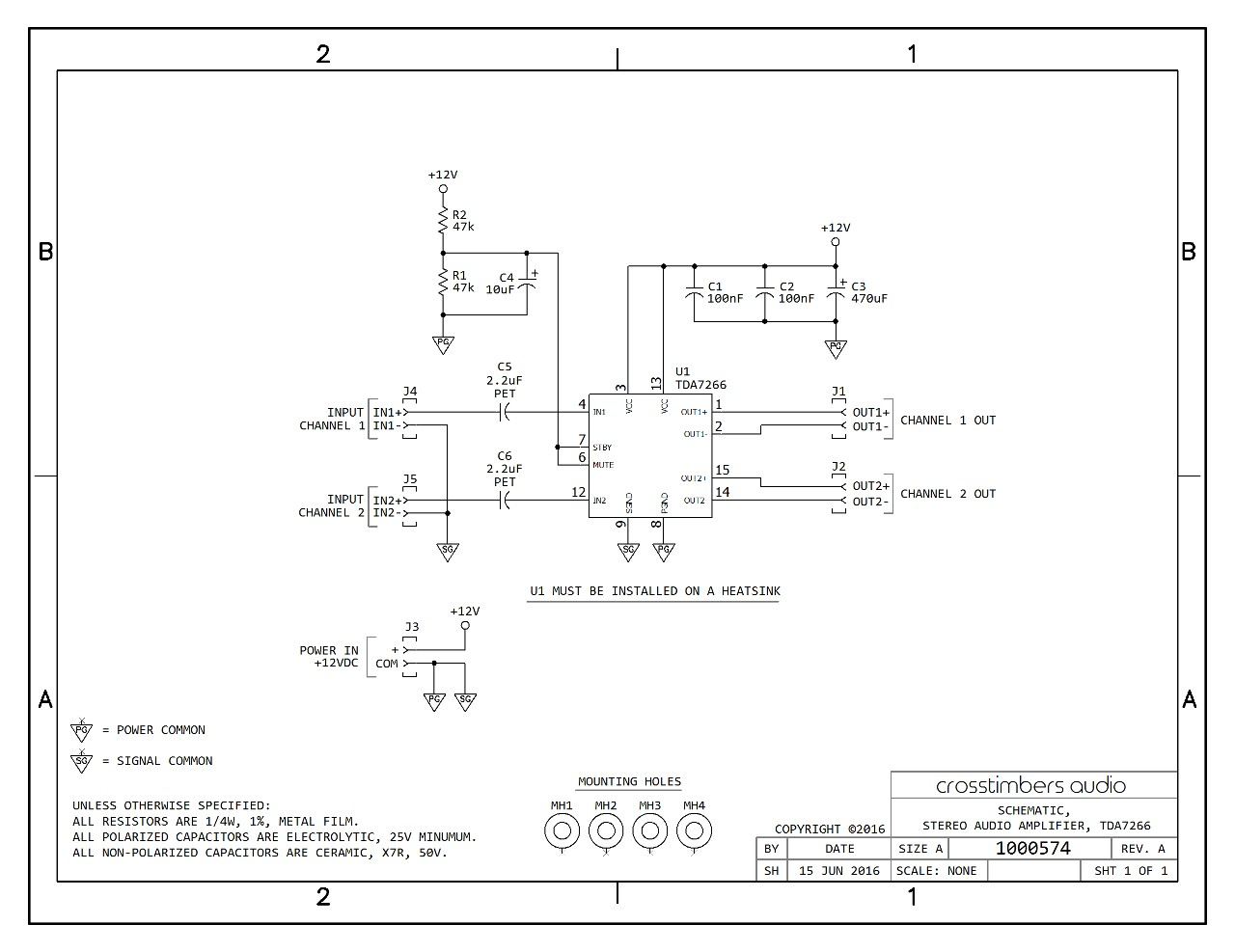 schematic tda7266 amplifier pcb