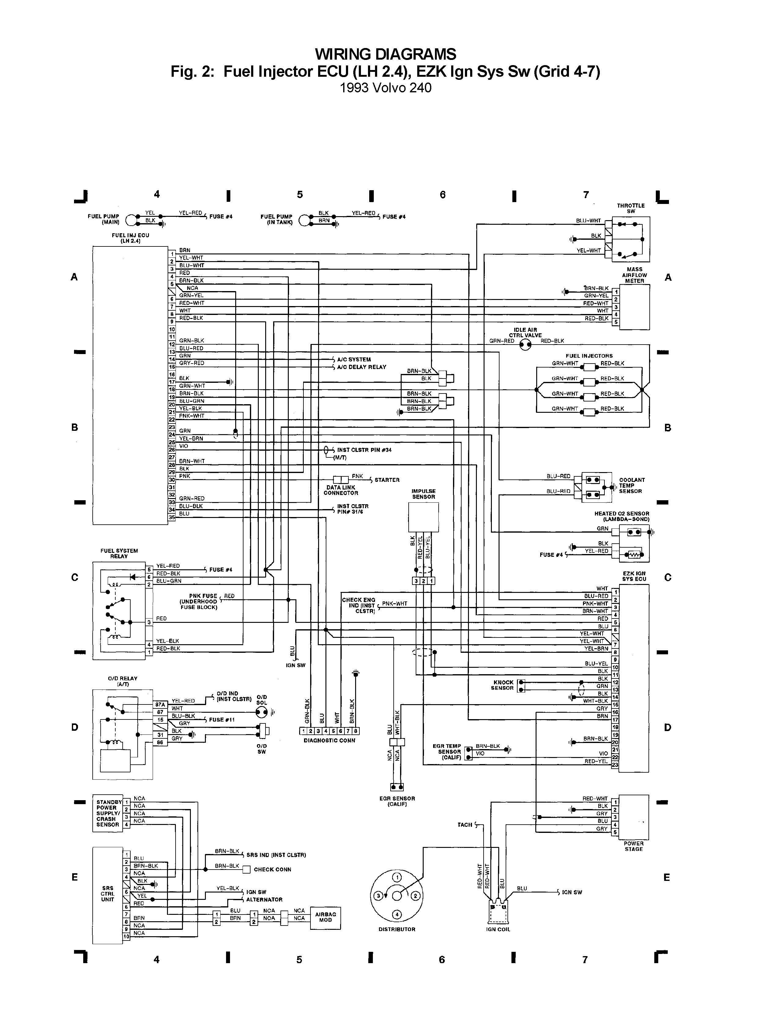 volvo 240 wiring diagram fuel injector ecu lh 24 ezk ign sys sw