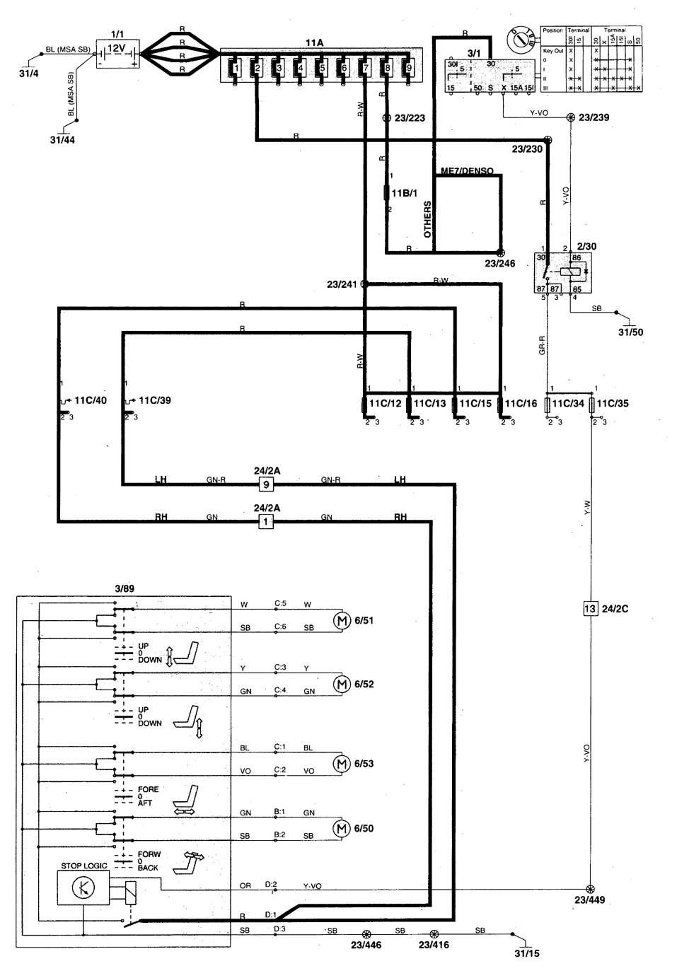 volvo V70 wiring diagram power seat 1 1998