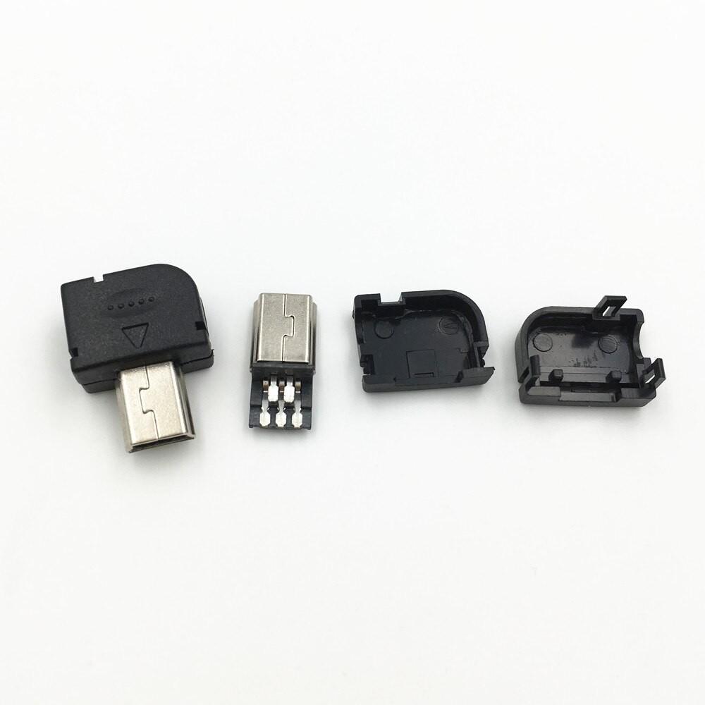 10Pcs DIY USB 2 0 Mini 5 Pin Male Type B Welding Plug Connector 3 in